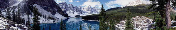 Wall Art - Photograph - Lake With Snow Covered Mountains In The Background, Moraine Lake, Banff National Park, Alberta, Cana by Panoramic Images
