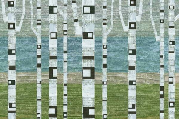 Digital Art - Lakeside Birches 2.0 by Michelle Calkins