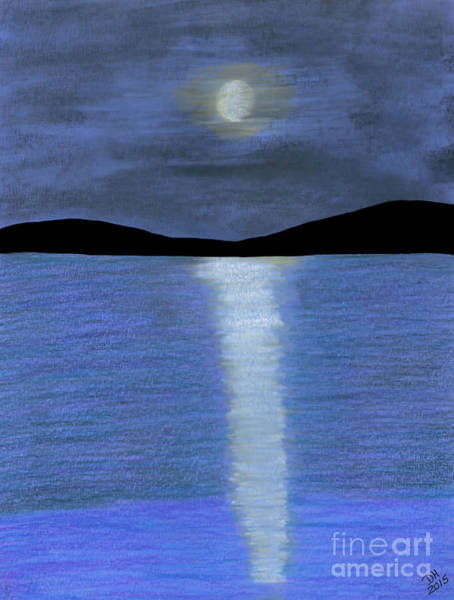 Drawing - Lakeside Full Moon by D Hackett