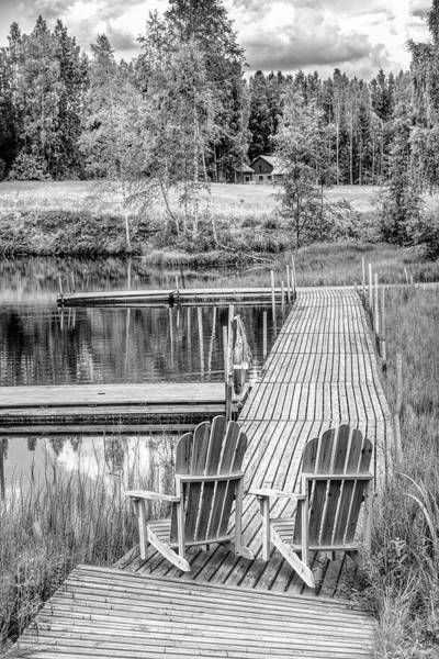 Photograph - Lakeside In The Summer In Black And White by Debra and Dave Vanderlaan