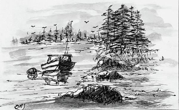 Painting - Lakeside Mooring - Noir by Barry Jones