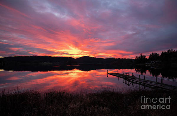 Wall Art - Photograph - Lakeside Sunset Reflection Serenity by Mike Reid