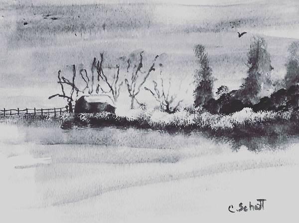 Black Buck Painting - Lakeside View by Christina Schott