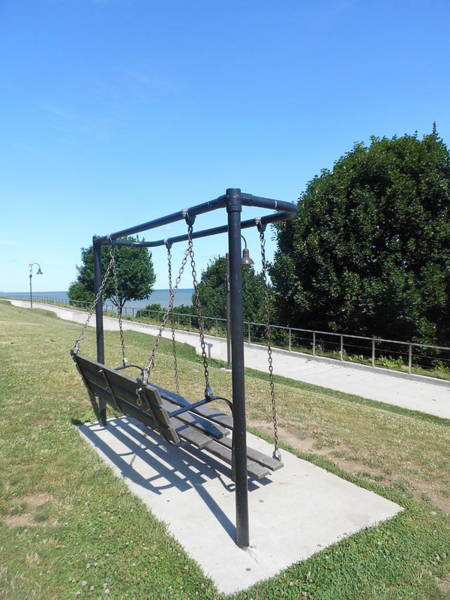 Park Bench Digital Art - Lakewood Park Bench Swing by Charles Pegg