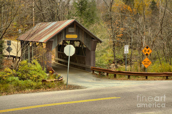 Photograph - Lamoille County Gold Brook Covered Bridge by Adam Jewell