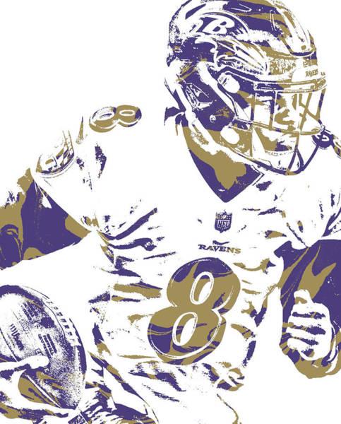 Wall Art - Mixed Media - Lamar Jackson Baltimore Ravens Pixel Art 1 by Joe Hamilton