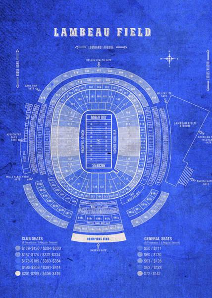 Wall Art - Mixed Media - Lambeau Field Green Bay Seating Chart Vintage Patent Blueprint by Design Turnpike