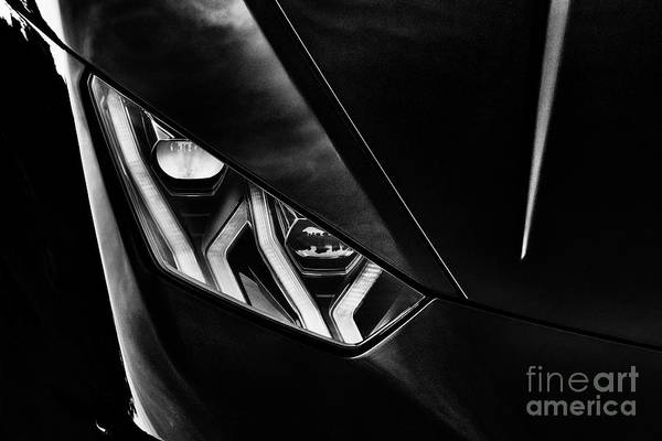 Photograph - Lamborghini Huracan Headlight Monochrome by Tim Gainey