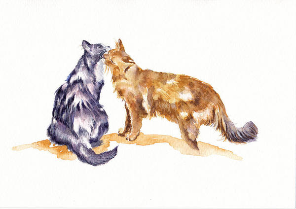 Wall Art - Painting - L'amour - Cats In Love by Debra Hall