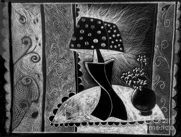 Lamp And Flowers. Art Print