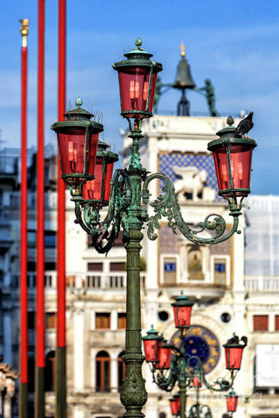 Photograph - Lamp Post Colors At The Piazza San Marco In Venice by John Rizzuto