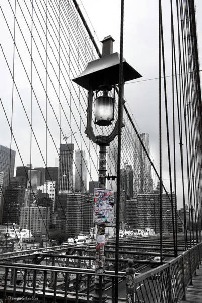 Photograph - Lamp Post On Brooklyn Bridge by T-S Fine Art Landscape Photography