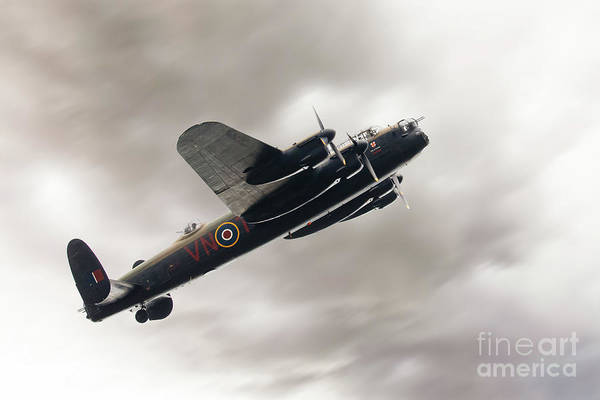 Wall Art - Photograph - Lancaster Bomber Close Up Fly Past by Simon Bratt Photography LRPS