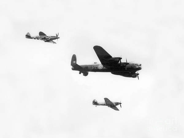 Photograph - Lancaster Bomber Flanked By Spitfire And Hurricane Fighter. by Doc Braham