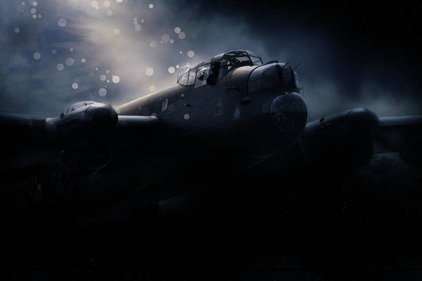 Wall Art - Digital Art - Lancaster Bomber Night by J Biggadike
