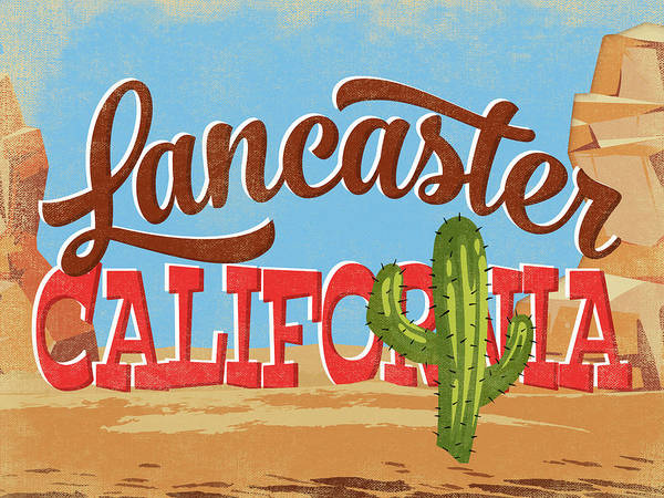 Wall Art - Digital Art - Lancaster California Cartoon Desert by Flo Karp