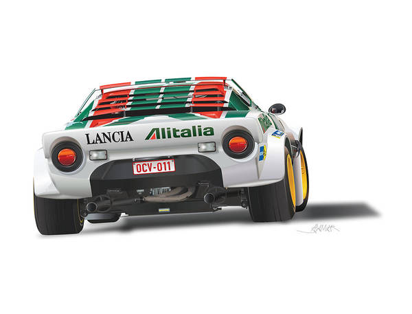 Wall Art - Drawing - Lancia Strato Rear No Background by Alain Jamar
