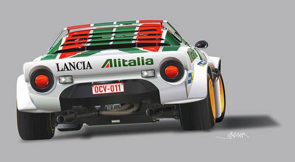 Wall Art - Drawing - Lancia Stratos Rear by Alain Jamar
