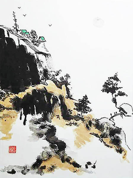 Chinese Brush Painting - Land Of Zen by Casey Shannon