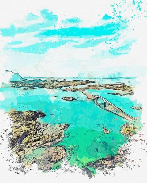 Painting - Landmark Island -  Watercolor By Ahmet Asar by Ahmet Asar
