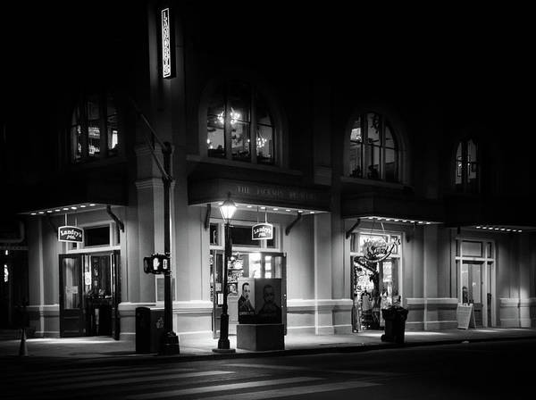 Wall Art - Photograph - Landry's In Jax At Night Black And White by Greg and Chrystal Mimbs
