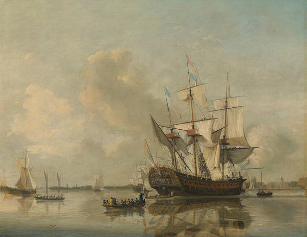 Wall Art - Painting - Lands Frigate Rotterdam On The Maas For Rotterdam by Nicolaas Baur