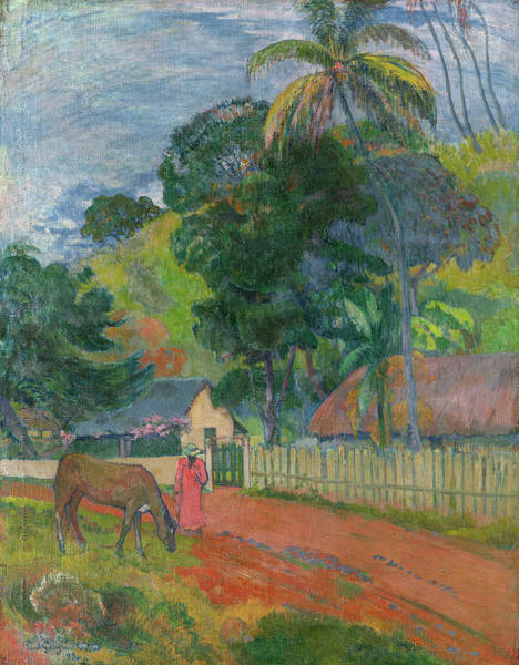 Wall Art - Painting - Landscape, A Horse On Road, 1899 by Paul Gauguin