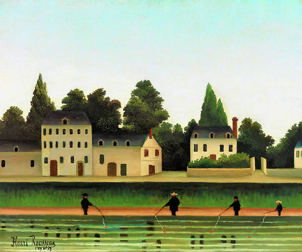 Wall Art - Painting - Landscape And Four Fisherman - Digital Remastered Edition by Henri Rousseau