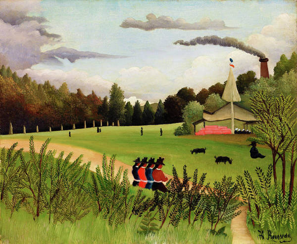 Wall Art - Painting - Landscape And Four Young Girls - Digital Remastered Edition by Henri Rousseau