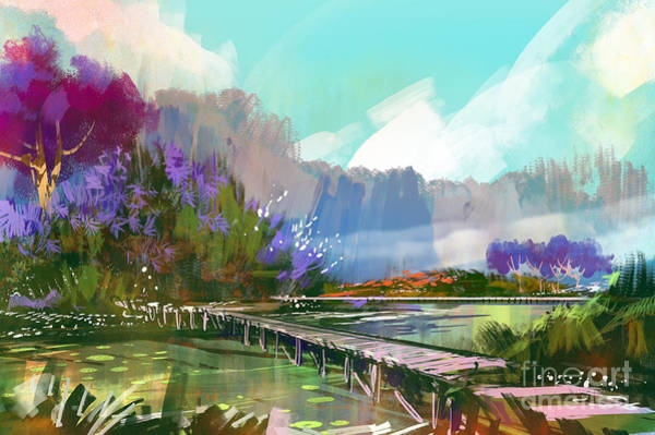 Wall Art - Digital Art - Landscape Digital Painting Of Beautiful by Tithi Luadthong