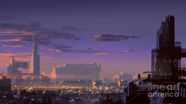 Wall Art - Digital Art - Landscape Digital Painting Of Sci-fi by Tithi Luadthong