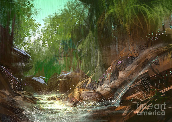 Rain Forest Wall Art - Digital Art - Landscape Digital Painting Of by Tithi Luadthong