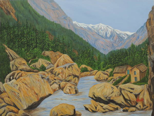 Wall Art - Painting - Landscape Gangotri IIi by Ajay Harit
