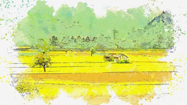 Painting - Landscape Meadow Field Switzerland Nature Green -  Watercolor By Ahmet Asar by Ahmet Asar