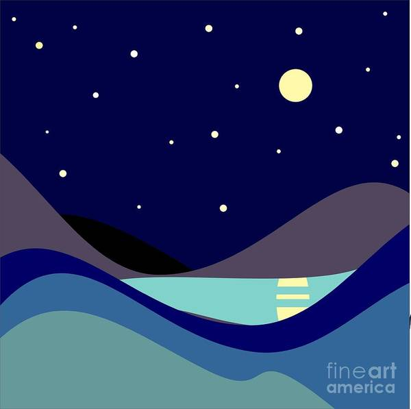 Dark Blue Digital Art - Landscape. Moonlit Night. Vector by Kizuneko