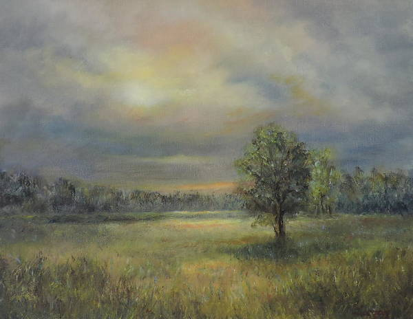 Painting - Landscape Of A Meadow With Sun And Trees by Katalin Luczay
