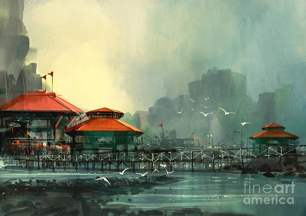 Wall Art - Digital Art - Landscape Of Beautiful Harbor,fishing by Tithi Luadthong