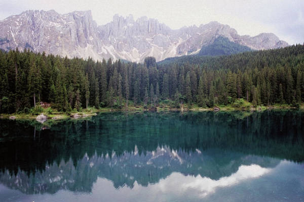 Lake Photograph - Landscape Of Carezza Lake And Latemar by Stefano Salvetti