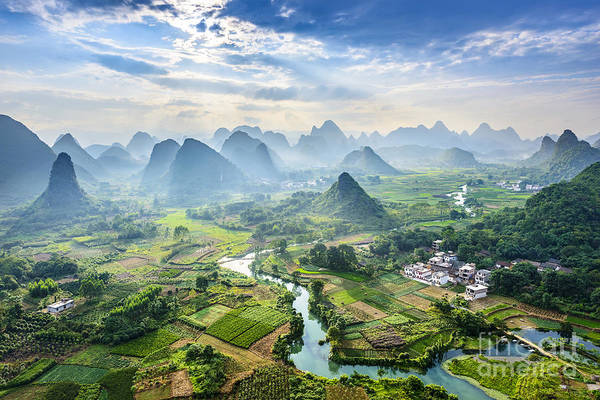 Wall Art - Photograph - Landscape Of Guilin, Li River And Karst by Aphotostory