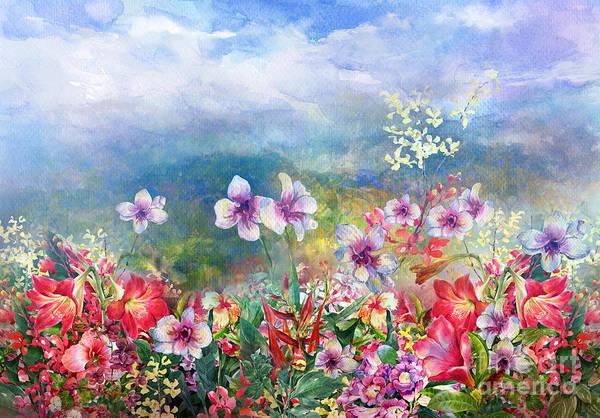 Wall Art - Digital Art - Landscape   Of Multicolored Flowers by Pawaris  Pattano09