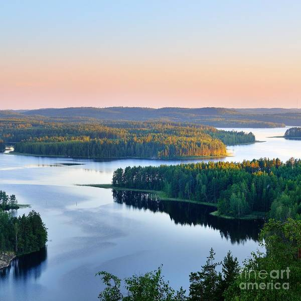 Wall Art - Photograph - Landscape Of Saimaa Lake From Above by Aleksey Stemmer