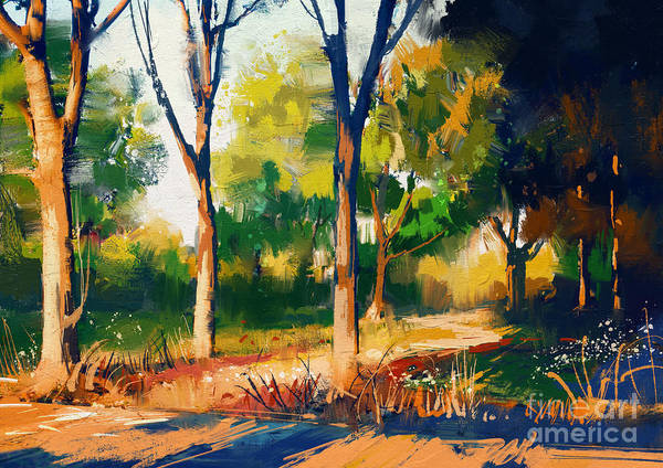 Wall Art - Digital Art - Landscape Painting Of Beautiful Summer by Tithi Luadthong