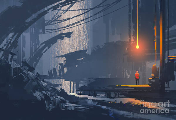 Man Cave Wall Art - Digital Art - Landscape Painting Of Underground by Tithi Luadthong