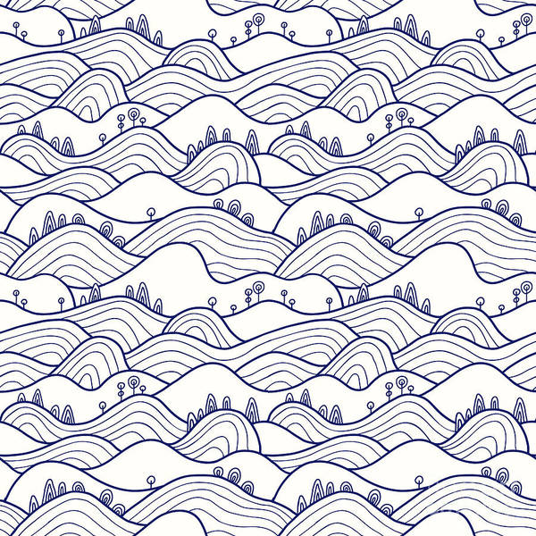 Trip Digital Art - Landscape Pattern. Vector Seamless by Likemuzzy