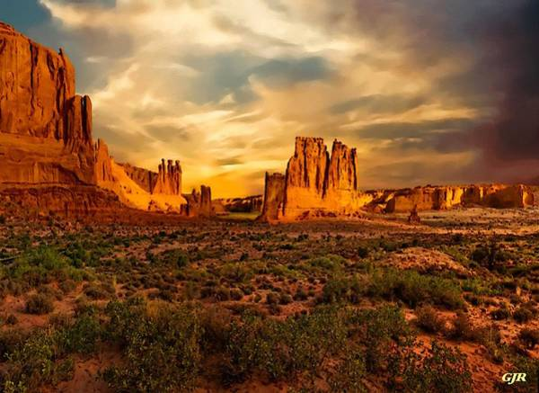 Wall Art - Digital Art - Landscape Scene In Arches National Park L A S by Gert J Rheeders
