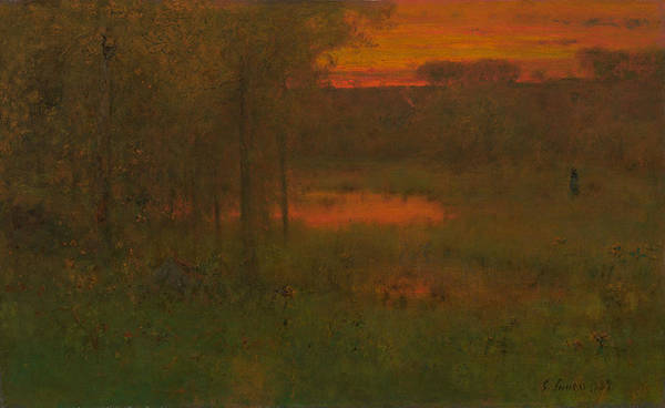 Wall Art - Painting - Landscape, Sunset by George Inness