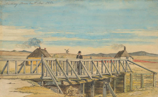 Drawing - Landscape With A Bridge Near Mosbjerg by Martinus Rorbye