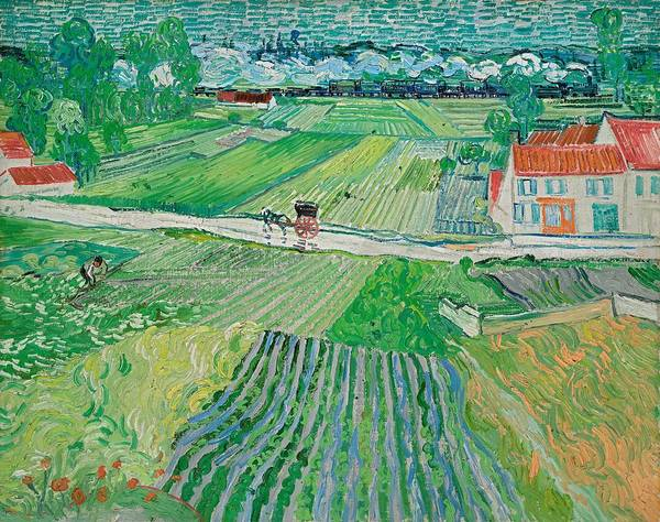 Wall Art - Painting - Landscape With A Carriage And Train by Vincent van Gogh