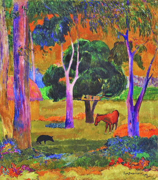 Wall Art - Painting - Landscape With A Pig And A Horse - Digital Remastered Edition by Paul Gauguin