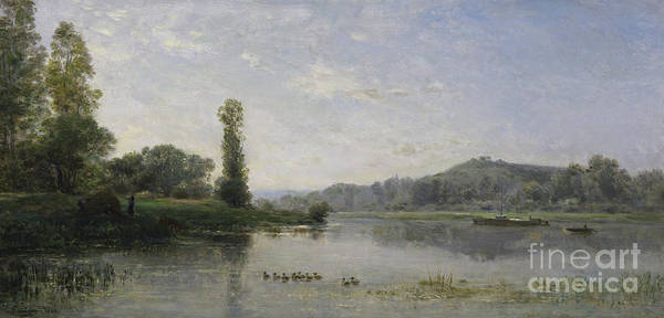 Wall Art - Painting - Landscape With A River, 1860 by Charles Francois Daubigny